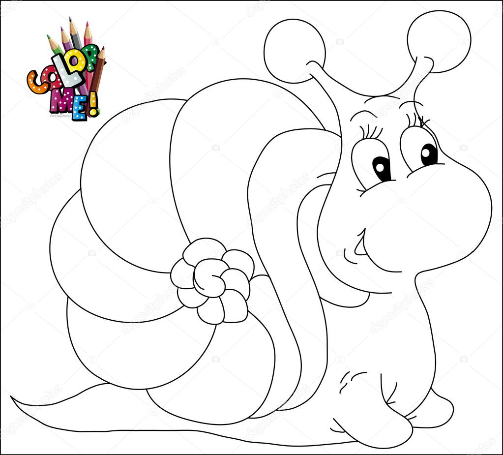 Color Me Snail Stock Vector