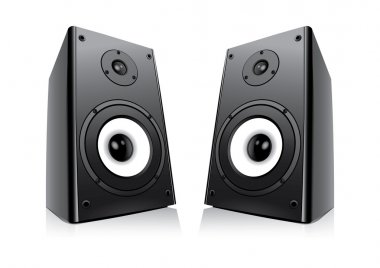 Pair Of Black Loud Speakers