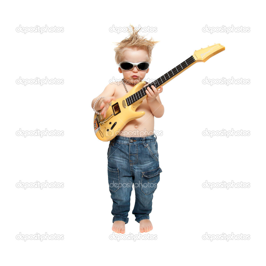 The boy and electric guitar