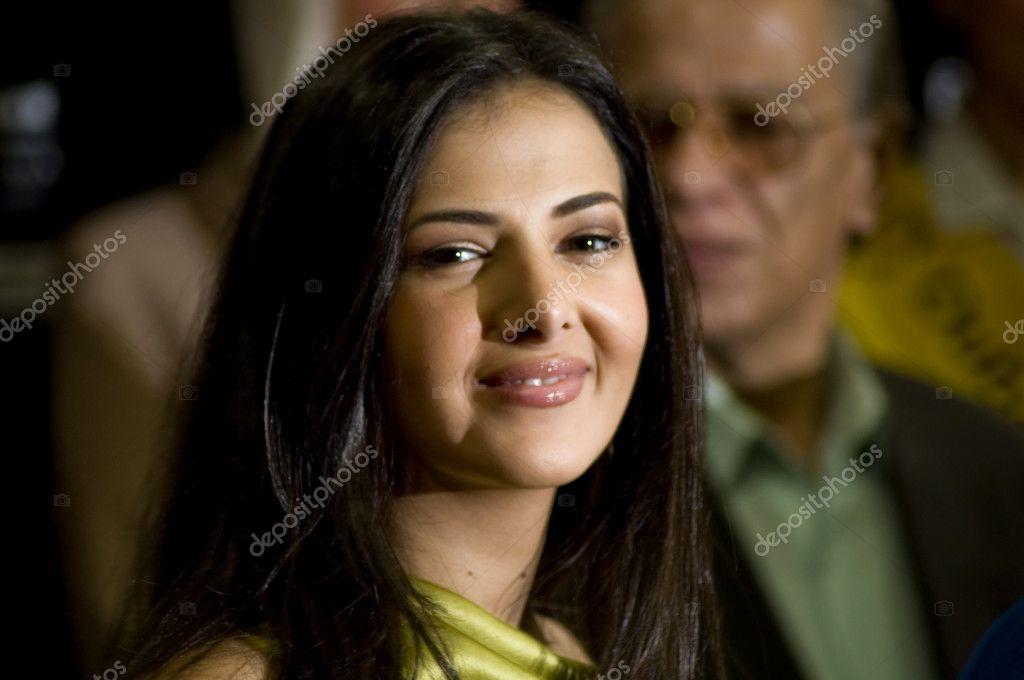Beautiful daughter of Egyptian comedian Samir Ghanem during Red carpet Event of Dubai International Film Festival. stock vector