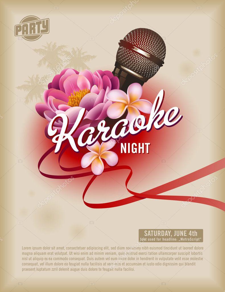 Retro Karaoke Party Flyer oder poster — Stockvektor © studio_accanto ...