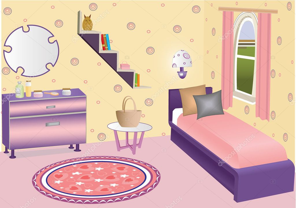 Vector children bedroom interior with bed, cover, mirror, chest and ...