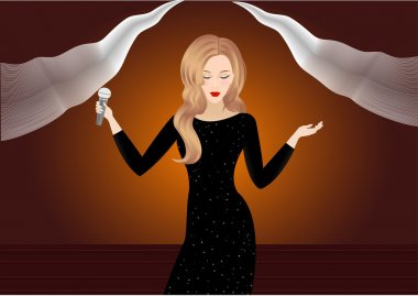 Beauty vector girl in black dress with stars sings song on the scene with abstract light