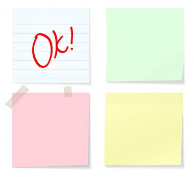 Collection of various note papers on white background