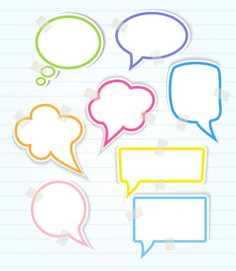 Set of colorful speech bubbles with sticky tape and smooth shadow, vector clip art vector