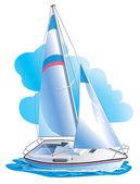 vektorové kreslení jachty proti mraky