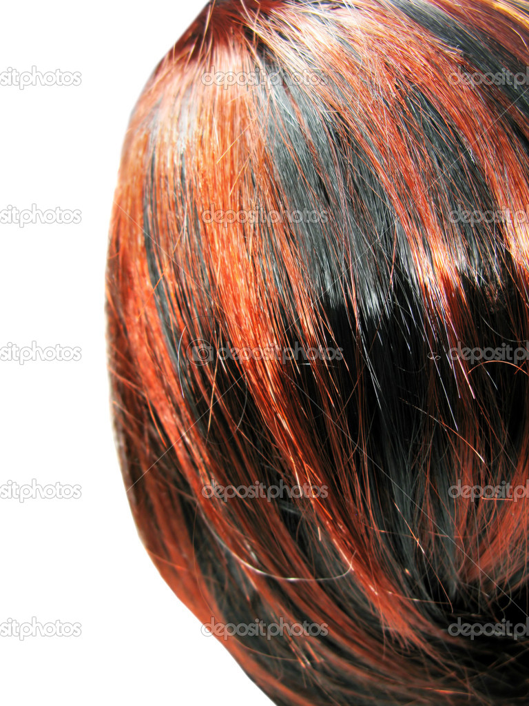Highlight Hair Black And Red Texture Background Stock Photo