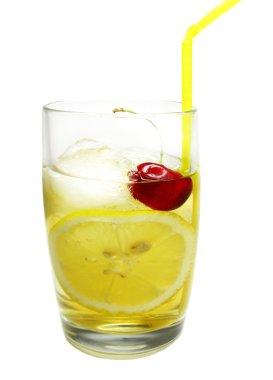 Alcohol john collins liqueur cocktail with lemon cherry