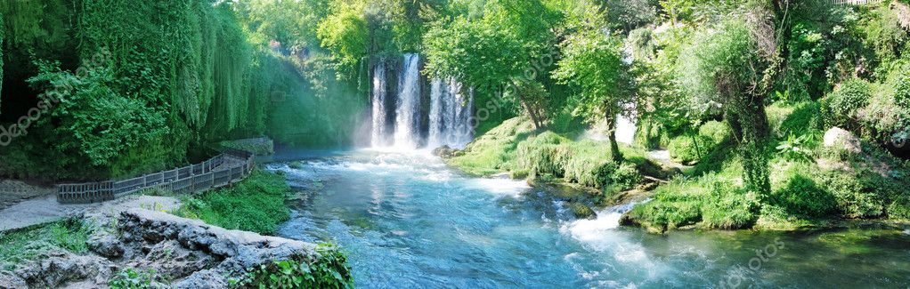 Panorama of waterfall duden turkey