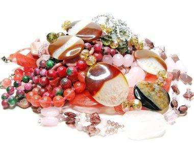 Heap of pink semigem beads