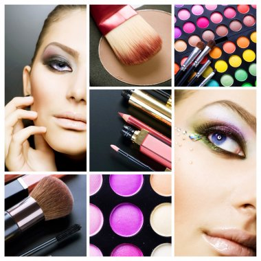 Makeup. Beautiful Make-up collage stock vector