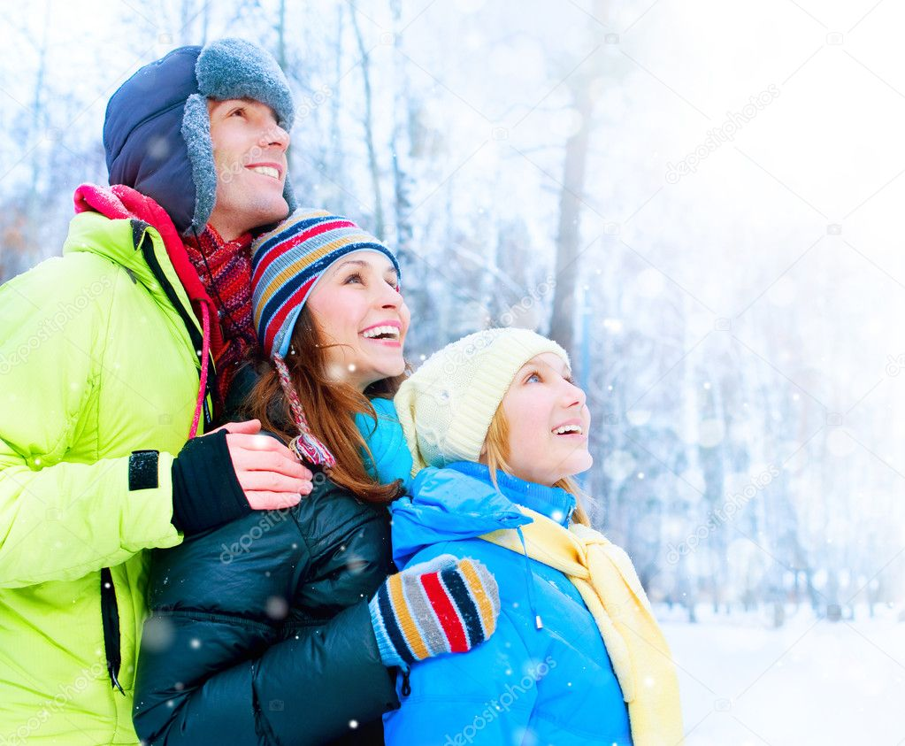 Happy Family Outdoors. Snow.Winter Vacation