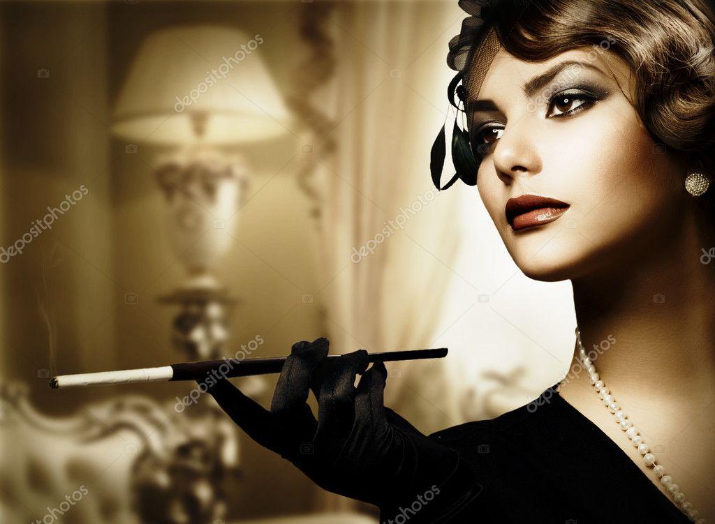 Retro Woman Portrait in Classic Interior