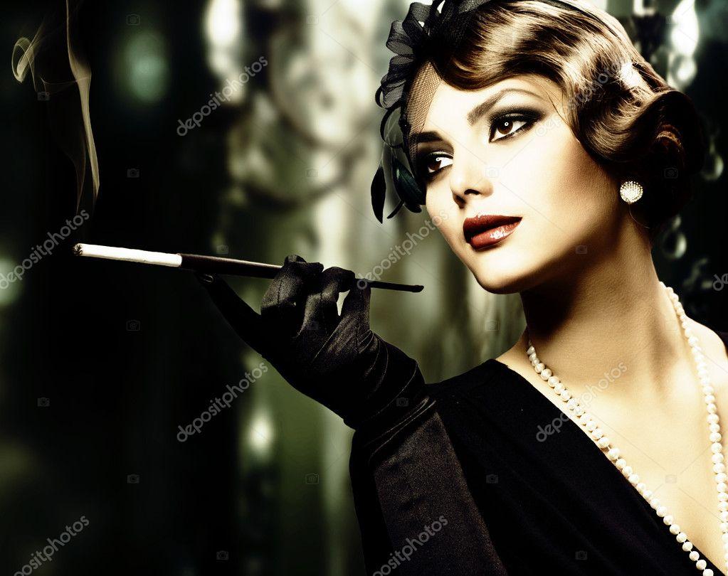Retro Woman Portrait. Sepia toned
