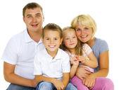 Fotografie Happy velké rodinné rodiče s dětmi nad bílá
