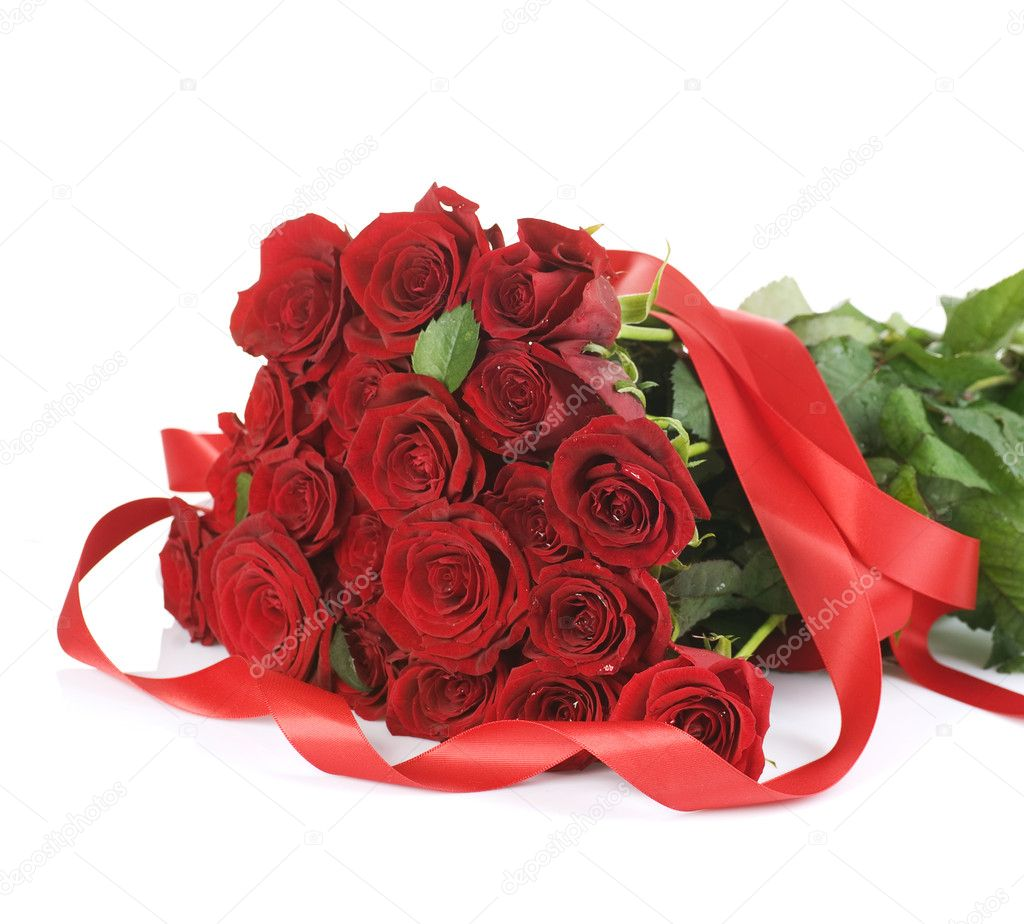 ramo de rosas rojas grandes sobre blanco fotos de stock - Fotos De Rosas Rojas Grandes