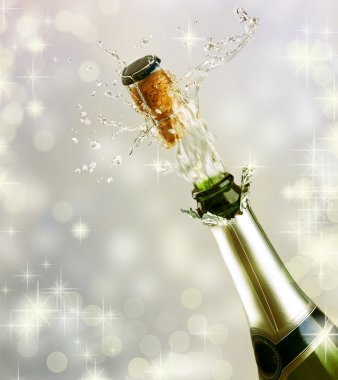 Champagne explosion. Celebrating concept stock vector