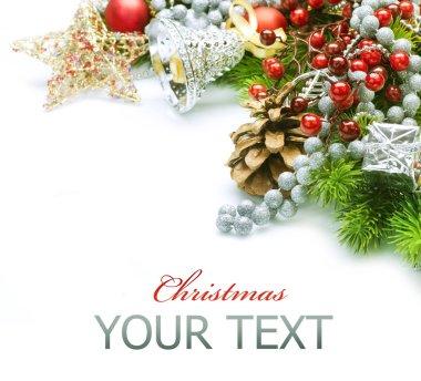 Christmas decorations border design. Isolated on white