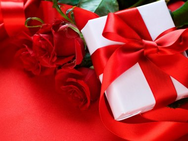 Roses and Gift box. Wedding present