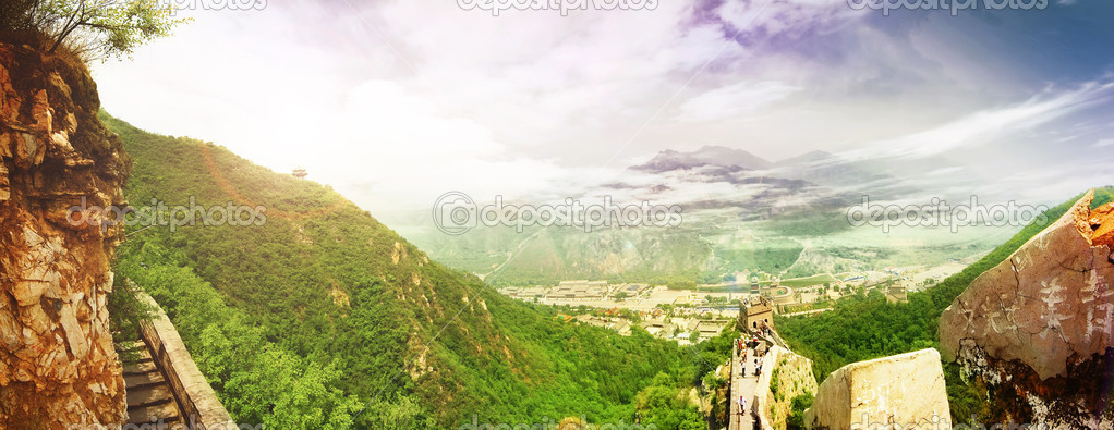 China. Great Wall. Panoramic View