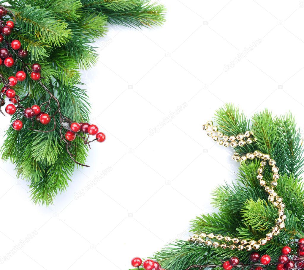 Christmas tree with decoration border design — stock