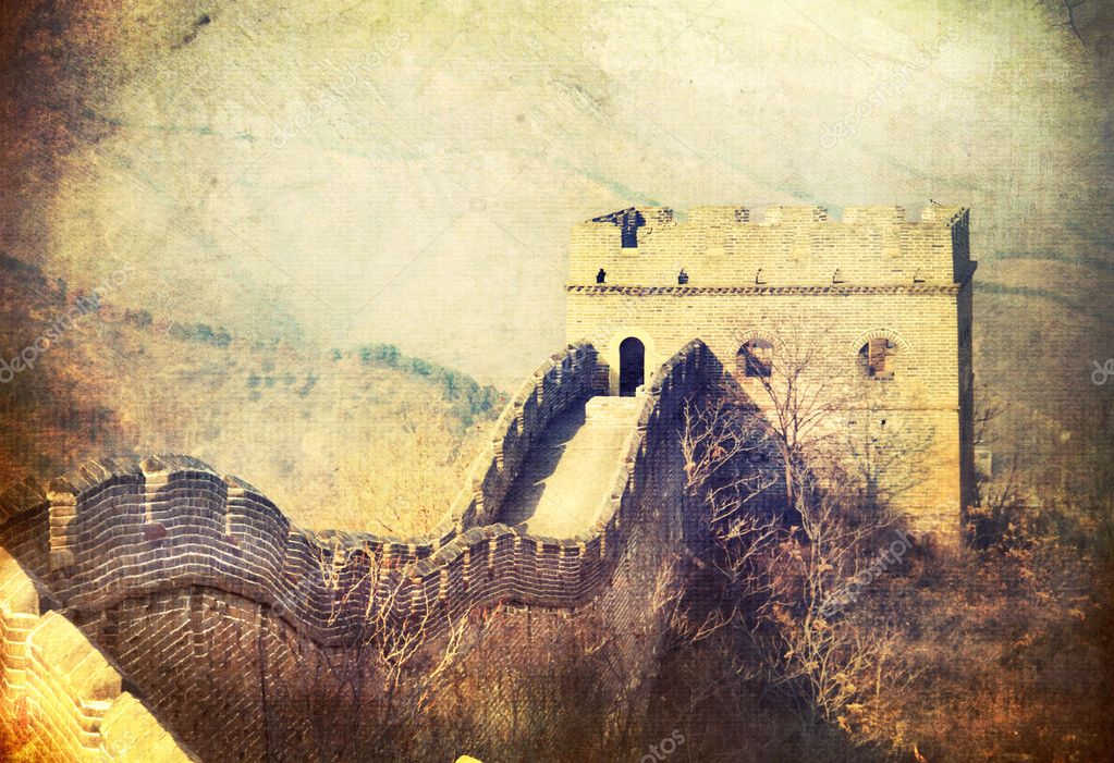 Great Wall.China.Vintage styled art design — Stock Photo © Subbotina ...