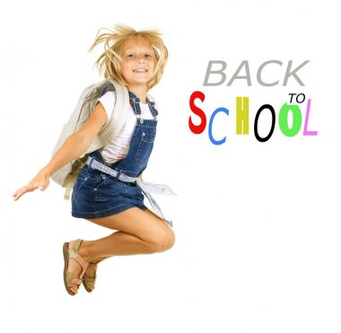 Back To School. Happy Pupil Jumping. Isolated On White