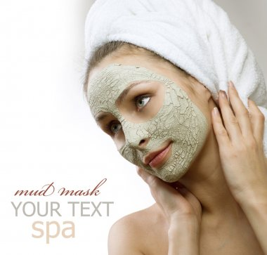 Spa Mud Mask on the woman's face. Space for text