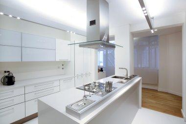 Modern white kitchen with wood floor