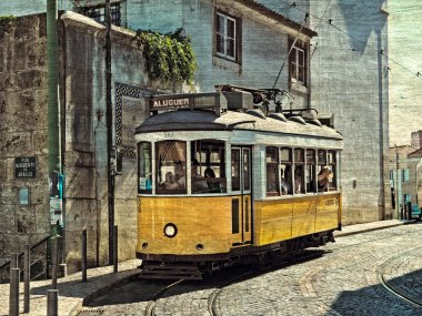 Beautiful city sight of the capital of Portugal with yellow typi