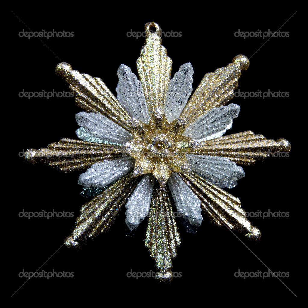 Silver gold christmas star ornament — stock photo