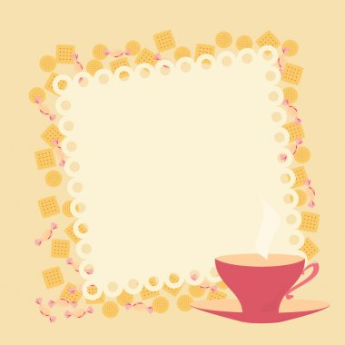 Frame with teacup and cookies
