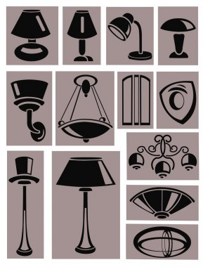 A set of silhouettes of lamps
