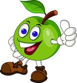 Fotografia personaggio dei cartoni animati di mela verde