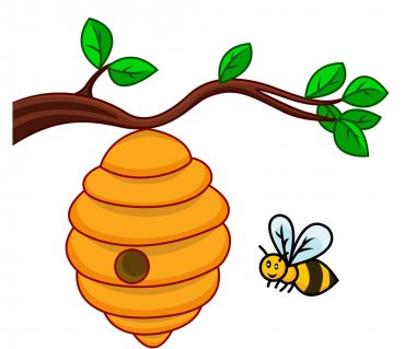 Illustration of isolated beehive branch