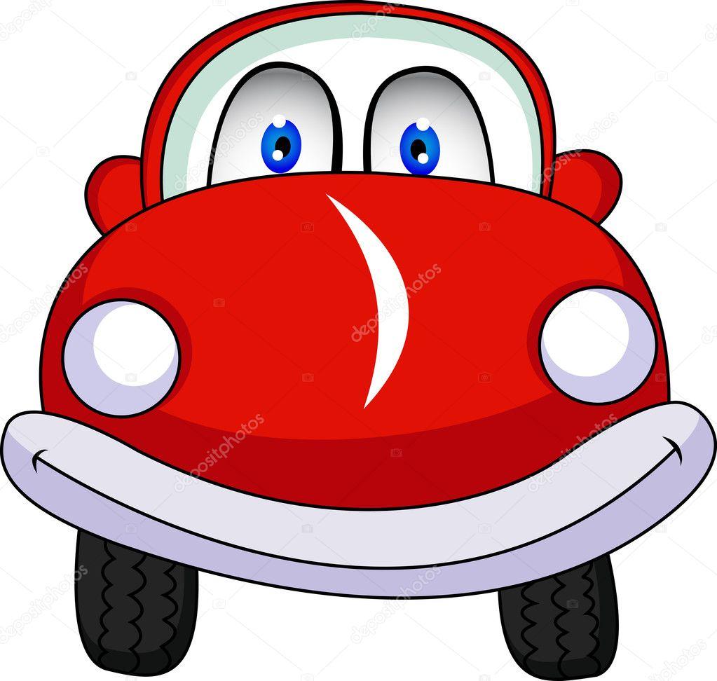 Cartone animato divertente macchina rossa — vettoriali