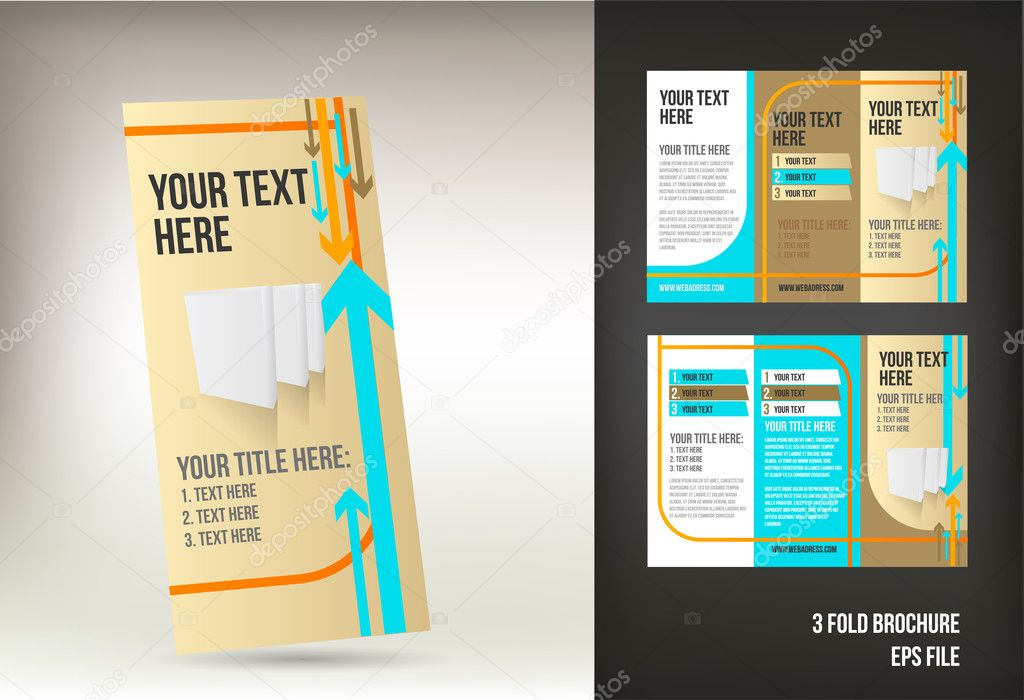 Retro Tri Fold Brochure Template  Stock Vector  Natashica
