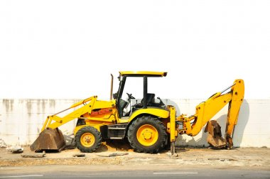 Wheel loader machine on the road