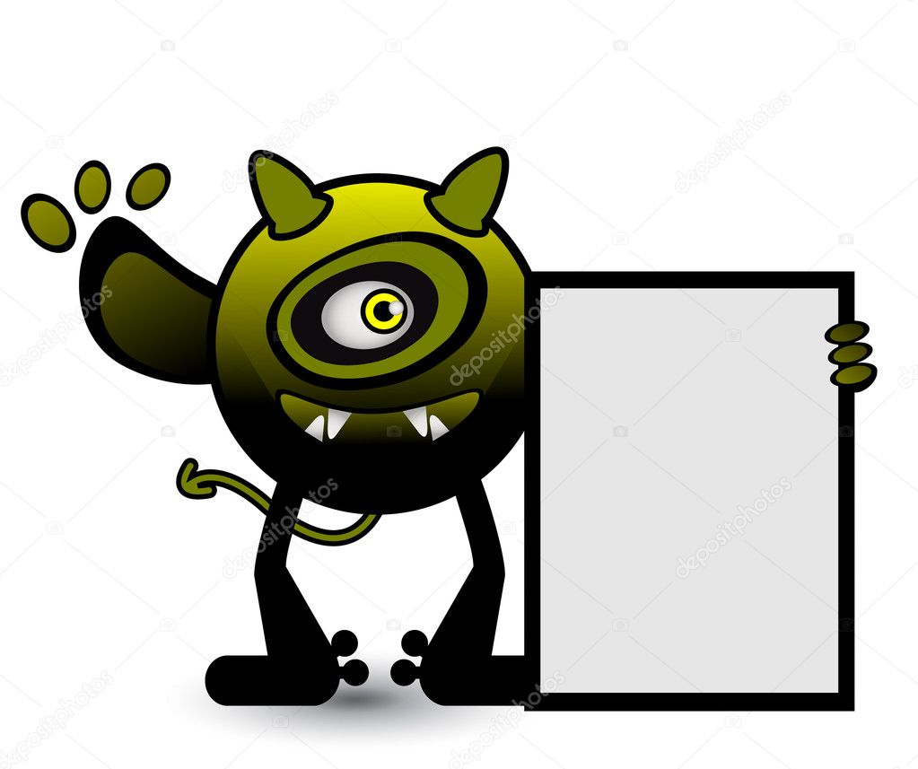 yellow cyclops monster banner u2014 stock vector premiumdesign 10627304