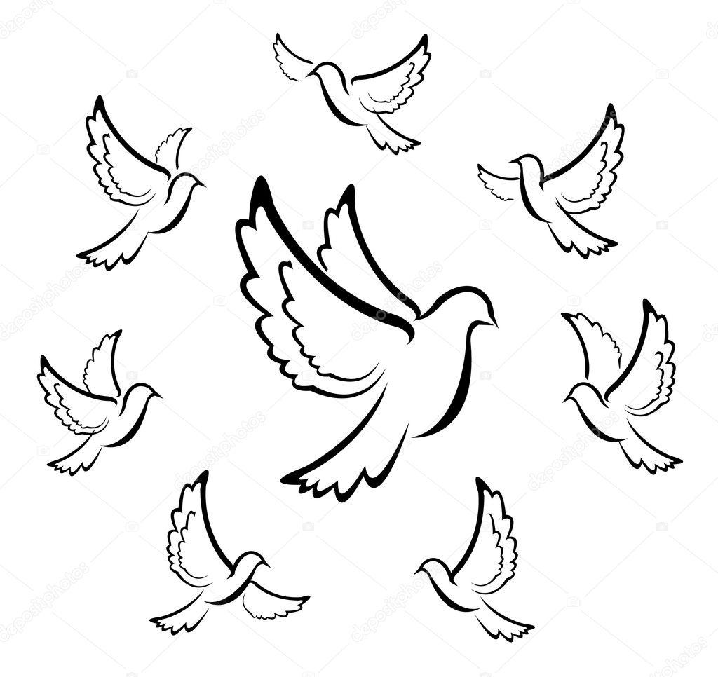 Pigeons  Голуби Вектор  ArStyleorg  портал обо всем