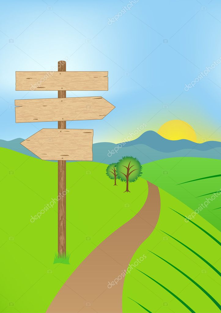 Crossroads in landscape with sign