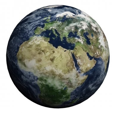 This nice 3D picture shows the planet earth