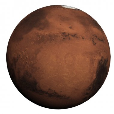 This nice 3D picture shows the planet mars