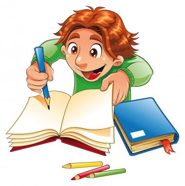 Boy writing and drawing.