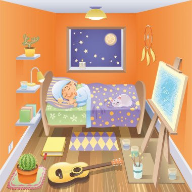 Boy is sleeping in his bedroom.