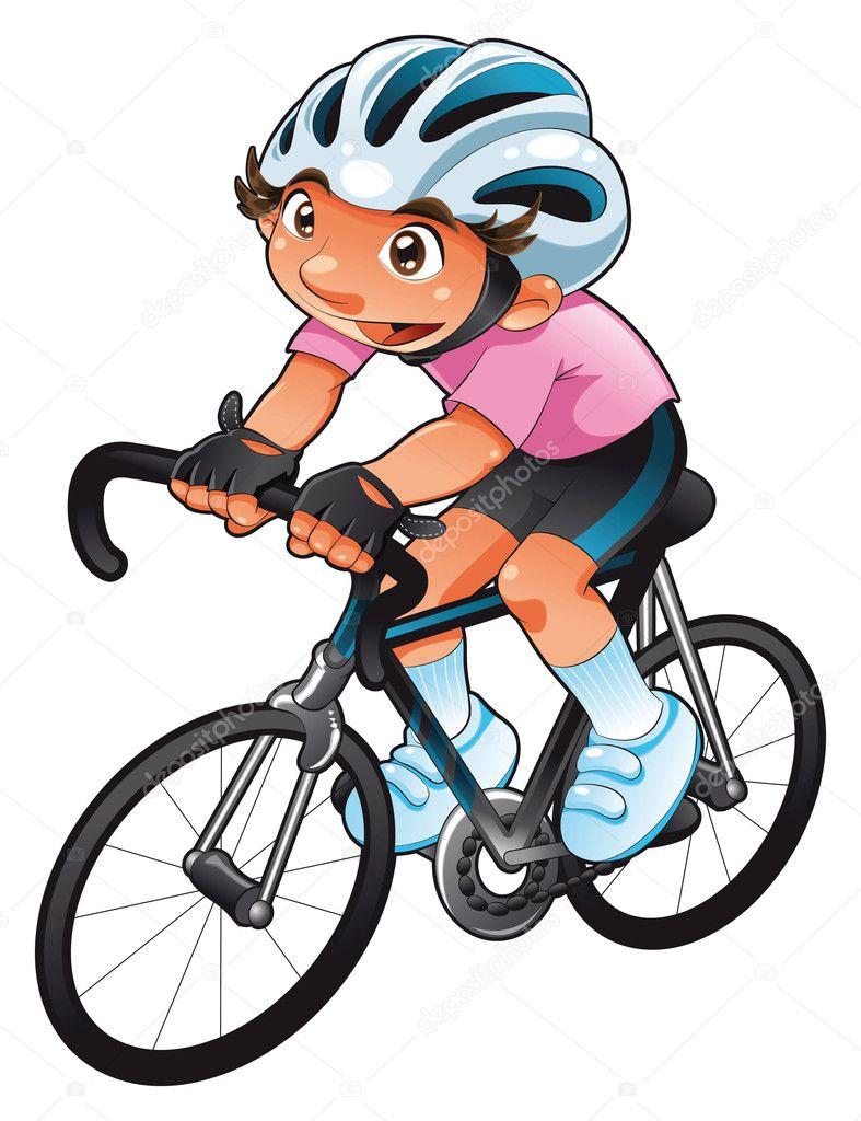 Ciclista di bambino personaggio divertente cartone