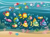 Fotografia famiglia di animali marini nel mare