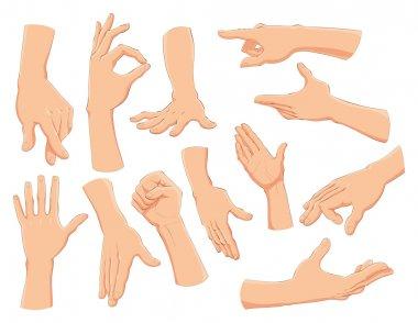 Hands and symbols.