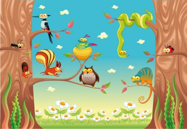 Funny animals on branches.
