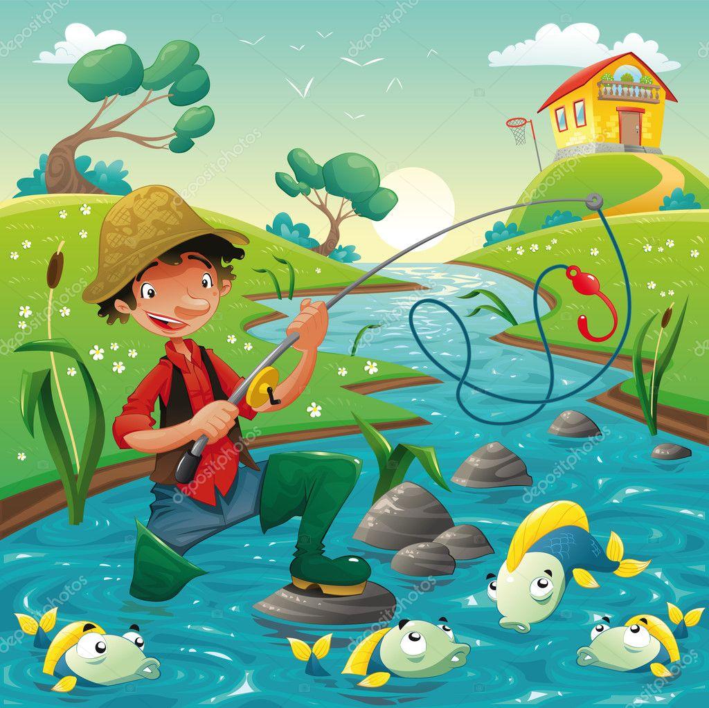 Cartoon scene with fisherman and fish.